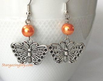 Lacewing Filigree Monarch Butterfly Orange Pearls n silver charm earrings Hypoallergenic surgical steel hooks YOU CHOOSE COLOR