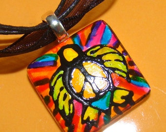 Turtle Rainbow peace out Jewelry Hand Painted ARt pendant