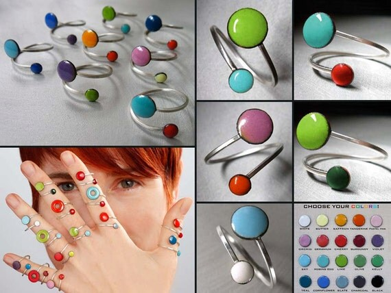CUSTOM COLOR Orbit Ring: Your Choice of 24 Colors, Kiln-fired Glass Enamel and Sterling Silver, Adjustable Size Ring, Fits US Sizes 6-9