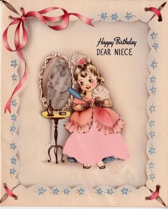 Vintage Happy Birthday Dear Niece Greetings Card B2