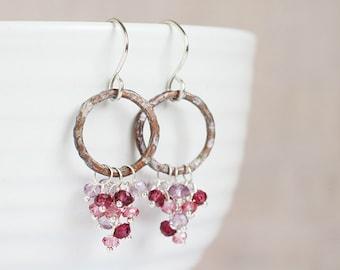 AMETHYST, rhodolite GARNET and mystic pink quartz clusters on rustic lavender patina hoops, sterling silver earrings