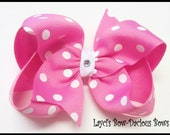 Large PIXIE PINK Polka Dot Boutique Bow - big pink bow - girls polka dot hair bow - boutique bow -  bow - international shipping