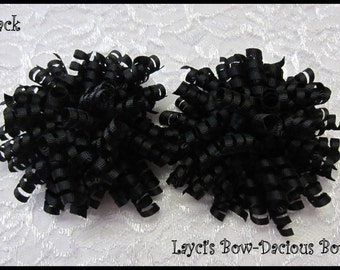 BLACK Korker Hair Bow Set, set of 2, korkers, hair bows for girls, birthday bows, international shipping