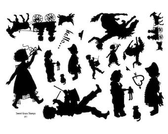 Stamp Sheet, Children Silhouettes, goat, horse No.1