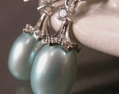 Tiffany blue pearl earrings sterling silver, dangle drop