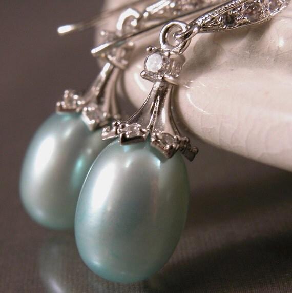 Tiffany blue pearl earrings sterling silver, dangle drop
