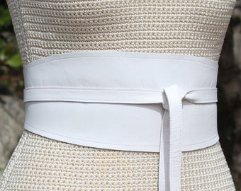 REVERSIBLE White Leather Obi Wrap Sash Style Cinch Belt - bespoke printed cincher - XS S M L XL Plus & Petite Size - bridal - custom made