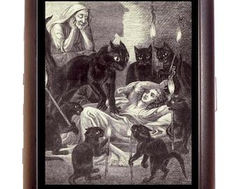Black Cat Attack Cigarette Case Business Card Case wallet Goth Horror Kitty Feline