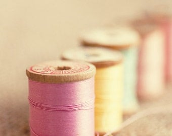 pink sewing room home decor pink yellow blue thread vintage wood spools art still life photography 5 Spools