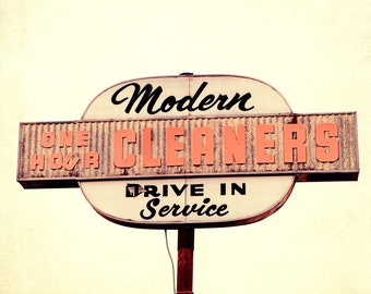 laundry room art, vintage sign photography, orange home decor, alabama photography,  cleaner drive in sign, Modern Cleaners