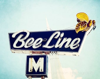 vintage motel sign photography blue decor yellow wall art retro home decor landscape photograph Bee Line
