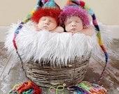 Newborn Rainbow Knit Hat BaBY PHoTO PRoP Multicolor Stripe Stocking Cap FuZZY BRiM Fat Tassel BeANiE Long Tail Pixie Cap PiCK CoLOR Boy Girl