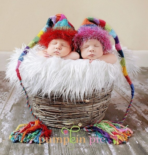 Newborn Rainbow Baby Knit Hat