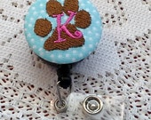 Custom Monogram Paw Print Badge Reel Clip On or Swivel Clip - Id Holder- Retractable