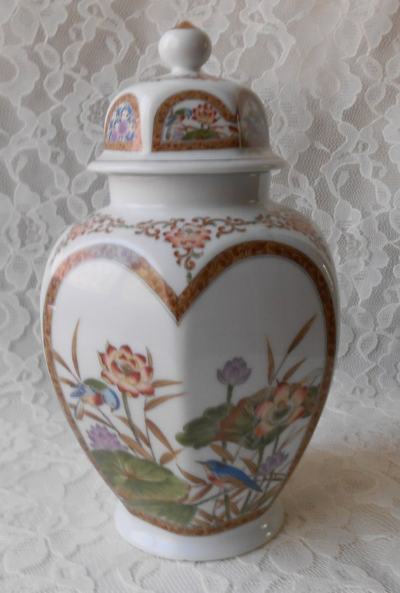 Reserved for Brittany Kindt Only Vintage Ginger Jar, Yellow Asian Cup, Mushroom Glass