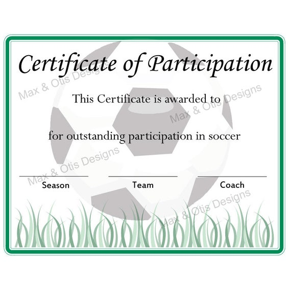 Soccer certificate of participation certificate by maxandotis for Certificate of participation template ppt