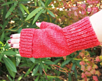 Fingerless Mitts - paprika bamboo wool