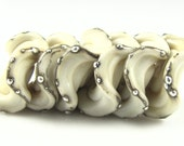 Ivory and Fine Silver Ruffled Lampwork Glass Disc Beads