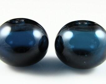 Regular Hollow SALE - Ink Blue Hollow Lampwork Glass Bead Pairs