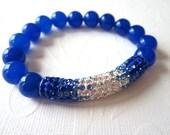 Blue Agate and Pave Crystal Stretch Bracelet