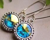 Swarovski Rivoli Earrings - Silver Plated - Kidney Earwires - Bridal Party - Bridesmaids