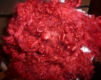 Redz Hand Dyed Primo Kid Mohair Locks One Ounce Spinning Carding Spinning