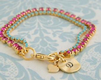 Initial Bracelet Turquoise Fuchsia Heart Charm Bracelet