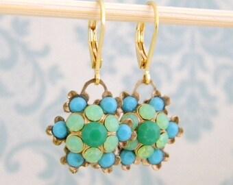 Seafoam Emerald Turquoise Rhinestone Flower Drop  Earrings