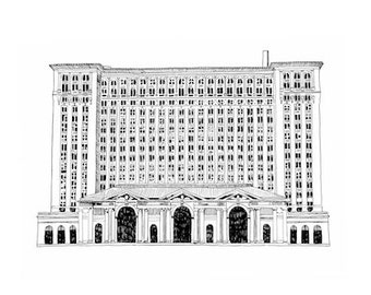 Michigan Central Station, Detroit Giclee Print 8x10