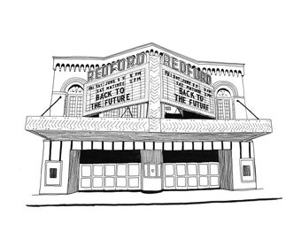 Redford Theatre, Detroit Giclee Print 8x10