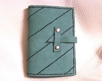 Black striped teal nubuck leather card case