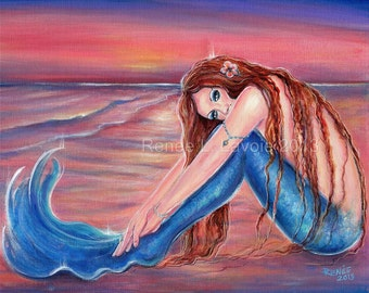 Touched by the sun mermaid aceo print MRMD By Renee L. Lavoie