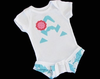 Boutique..TEAL CHEVRON baby OUTFIT ...Initial ..... Ruffle legged one piece