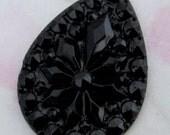 black jet pressed glass flower tear cabochon 25x18mm - f2820