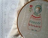 embroidered dolls or sampler on LINEN colored cotton fabric
