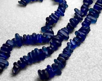 Midnight Sea Pebbles- recycled sea glass beads