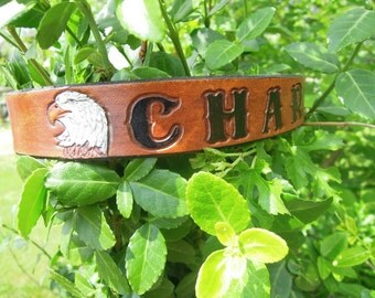 Leather Dog Collar with Eagle Personalized with Your Dogs Name
