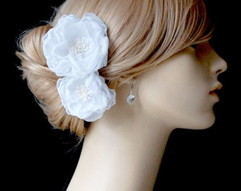 Wedding White Hair Flower, Bridal Chiffon Hair Flowers, Wedding Hair Clips, Bridal Accessories - Sash Accessories In White Chiffon