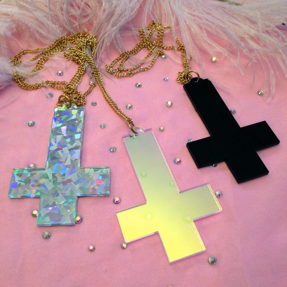 Black, Radiant or Confetti Acrylic Inverted Cross Necklace