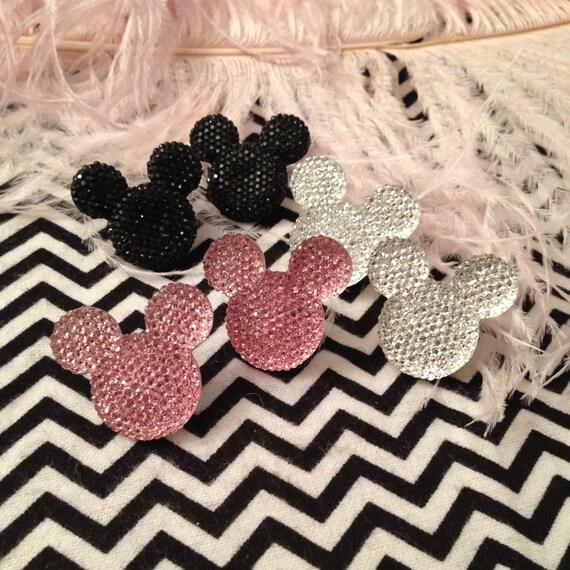 Pink, Silver or Black Mouseketeer Stud Earrings