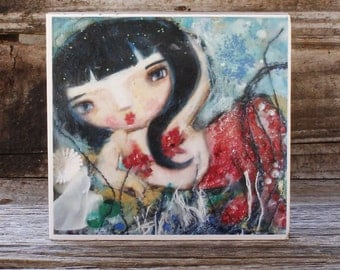 Small art print, 'Mermaid With Red Tail', open editon, block mounted