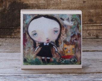 mini art print, 'Everywhere She Went', open editon, block mounted