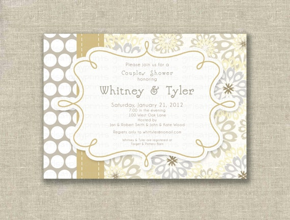 items similar to modern bridal couples shower invitation champagne pewter winter white dots printable by girlsatplay etsy girls at play on etsy