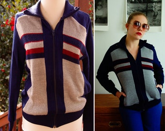 Striped 1970's 80's Vintage Men's Navy Blue Gray & Red Jacket size Small