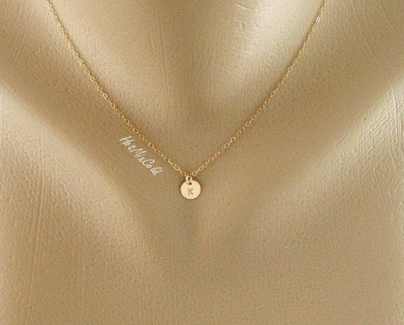 Custom Initial Monogram GOLD Fill Necklace, Tiny Initial charm Necklace, Simple daily Jewelry, Birthday, Bridesmaid, Mother's jewelry
