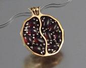 Small JUICY POMEGRANATE garnet bronze & silver pendant