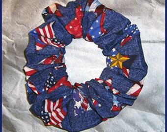 Patriotic Hair Scrunchie, Hair Tie, Holiday Ponytail Holder, Patriotic Stars on Denim Blue