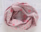 SALE! Organic Cotton Voile Hand Printed Circle Scarf - Pink Cloudlets