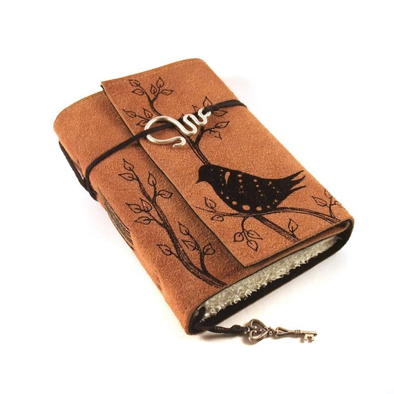 Black Bird, Leather Journal, Suede