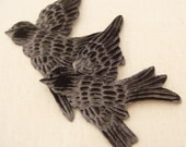 Pair CHARCOAL Gray VELVET BIRDS  Millinery  Pressed Pieces Large  Embossed from Antique Molds